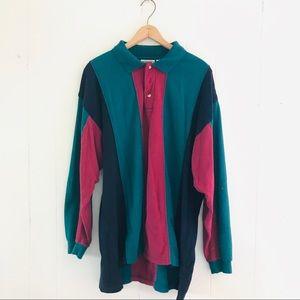 Vintage Color Block Striped Long Sleeve Shirt